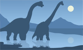 Silhouette of brachiosaurus lake Royalty Free Stock Photos