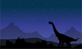 Silhouette of brachiosaurus in park Royalty Free Stock Image