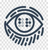 Silhouette Braille  for the education. Concept for the education of the blind, in the form of an eye with the text Braille and a fingerprint. icon, silhouette in Stock Images