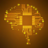 Silhouette brain in the form of lines circuits. Royalty Free Stock Image