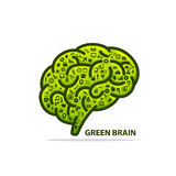 Silhouette of the brain green with icons Stock Photography
