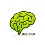 Silhouette of the brain green Stock Photo