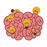 Silhouette brain human top view with light bulb Stock Images