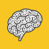 Silhouette of the brain with icons Royalty Free Stock Photos