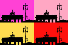 Silhouette of the Brandenburg Gate Stock Images
