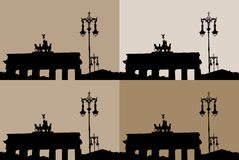 Silhouette of the Brandenburg Gate Stock Image