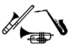 Silhouette of brass instruments Stock Photos