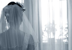 Silhouette of the bride Stock Images