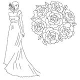 Silhouette of a bride with a bouquet of flowers. Royalty Free Stock Photography