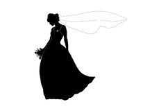 Silhouette of a bride with a bouquet and a long veil Royalty Free Stock Photography