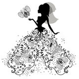 Silhouette of bride with butterfly Stock Photo