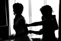 Silhouette of the Bride Dresses Royalty Free Stock Photography