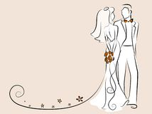 Silhouette of bride and groom,vector background Stock Photography