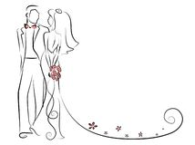 Silhouette of bride and groom,vector background Royalty Free Stock Images