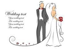 Silhouette of bride and groom,vector background. Illustration picture Stock Photography