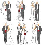 Silhouette of bride and groom,vector background Stock Images