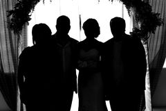 Silhouette of the bride and groom Royalty Free Stock Photo