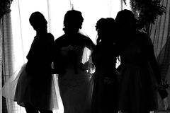 Silhouette of the bride and groom Stock Photos