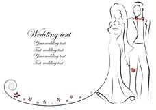 Silhouette of bride and groom,vector. Illustration picture Royalty Free Stock Image