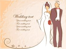 Silhouette of bride and groom,vector Stock Image