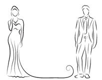 Silhouette of bride and groom, newlyweds sketch, hand drawing, wedding invitation, vector illustration Stock Image