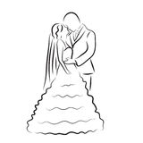 Silhouette of bride and groom, newlyweds sketch, hand drawing, wedding invitation, vector illustration Stock Images
