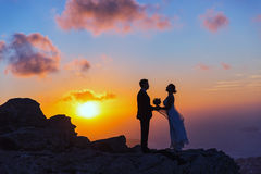 Silhouette of bride and groom on the  sea sunset. Silhouette of bride and groom on a high rock on a background of sea sunset Stock Images