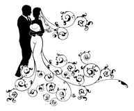 Silhouette Bride and Groom Wedding Illustration. A bride and groom wedding couple in silhouette with a white patterned bridal dress gown with an abstract floral Royalty Free Stock Photos