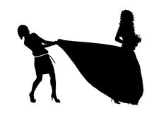 Silhouette of a bride and her jealous bridemaid. Pulling her wedding dress Vector Illustration