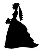 Silhouette of bride Royalty Free Stock Photos