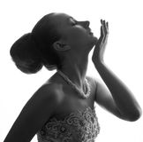 Silhouette of the bride weared in dress Royalty Free Stock Photos