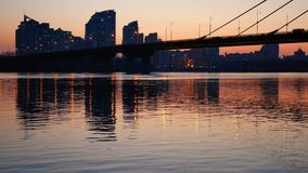 Bridge sunset view river stock footage