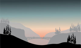 Silhouette of bridge at the morning Royalty Free Stock Images