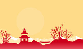 Silhouette of bridge and pavilion landscape Chinese New Year Stock Photos