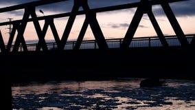 Silhouette bridge in Siberia stock footage