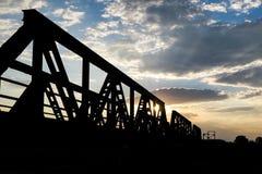 Silhouette of Bridge during Sunset Stock Photos