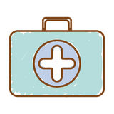 Silhouette with briefcase first aid color. Vector illustration Stock Photo