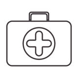Silhouette with briefcase first aid. Vector illustration Royalty Free Stock Photography