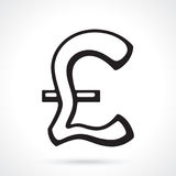 Silhouette of British pound sign Royalty Free Stock Image