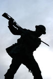 Silhouette of the British Tommy with drawn bayonet on the war memorial in the Diamond Londonderry Northern Ireland Stock Images