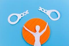 silhouette of broken handcuff stock images