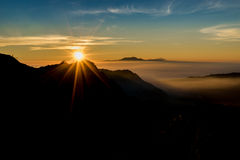 Silhouette  Bromo mountain in the sunrise. Indonesia Royalty Free Stock Photography
