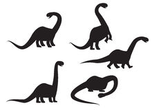 Silhouette of Brontosaurus dinosaur vector Stock Images
