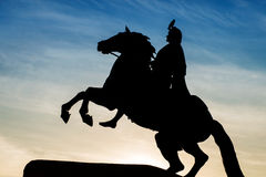 Silhouette of the Bronze Horseman against the twilight sky with Stock Photo
