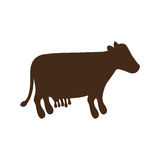 Silhouette brown color with milch cow. Vector illustration Royalty Free Stock Image