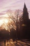 Silhouette of Bruton Parish steeple at sunset. Williamsburg, Virginia Stock Photography