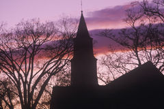 Silhouette of Bruton Parish steeple at sunset, Williamsburg, Virginia Stock Images