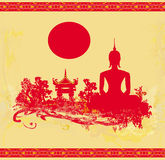 Silhouette of a Buddha,Asian landscape in grunge texture Royalty Free Stock Images