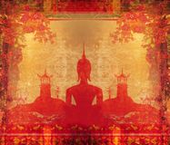 Silhouette of a Buddha  in grunge texture Stock Photos