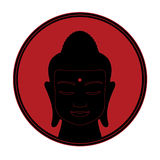 Silhouette of a buddha head on a red sun background. Black silhouette of a head of Buddha with third eye on a red sun background Vector Illustration